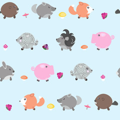 The pattern with wild animals, mushrooms and berries. Print for fabrics, notebooks.