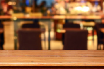 Wood table top in restaurant