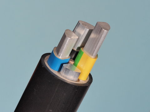 Medium voltage 1kV Aluminum sector cable end with stripped conductors, PVC insulation and black jacket, Melbourne 2015