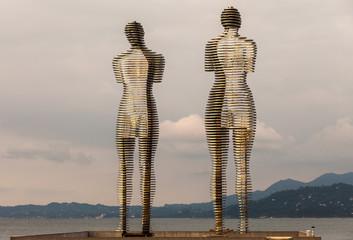 BATUMI, GEORGIA - JULY 7: Statue of Love Ali and Nino on July 7, 2015 in Batumi, Georgia. Steel Ali...