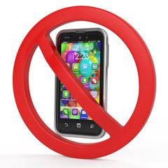 turn off mobile phones, forbidden sign concept