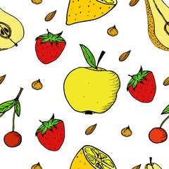 Vector illustration of summer fruits seamless pattern. Doodle by