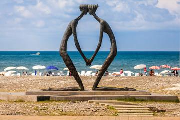 "BATUMI, ADJARA, GEORGIA - SEPTEMBER 1: Sculpture ""First love"" by Irakli Tsuladze"