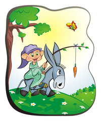 Gnome on a donkey, Gnome goes riding on a donkey on a blossoming meadow. In his hand branch on which hang the carrot before the donkey's nose. Cartoon, vector illustration