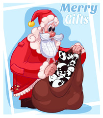 Merry Christmas Gifts Santa Cartoon Illustration Card