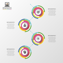 Infographic timeline. Business concept. Colorful circle with icons. Vector illustration