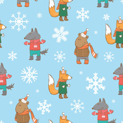 Vector winter seamless pattern with cute cartoon wolf,  fox and bear in clothes on a blue background.