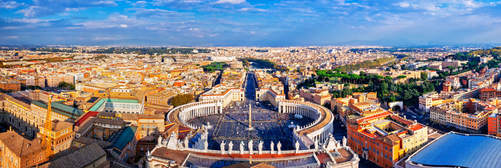 Panoramic view of city of Rome and St. Peter's Square
