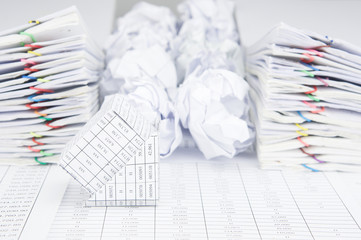 Bankruptcy of house have group of paper ball between paperwork