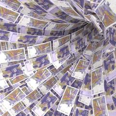 Geldstrudel aus 20 schwedische Kronen Scheine