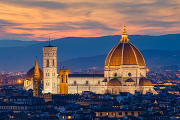 Aluminium Prints Florence Twilight at Duomo Florence in Florence, Italy