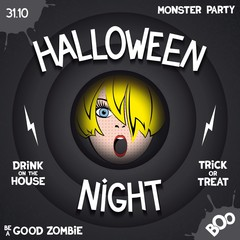 Halloween night. Retro poster in style of horror movie with pop-art girl in the center and volumetric labels. .Vector eps 10