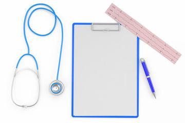 medical set (cardiogram, stethoscope, pen, pad)
