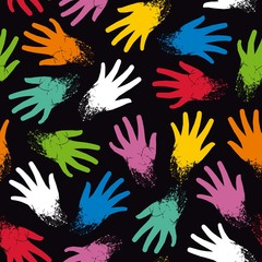 Colored seamless pattern of fun hands are placed on diagonal. Vector eps 8