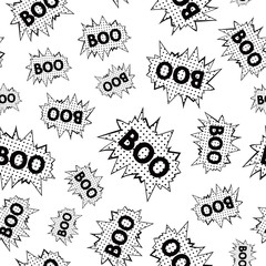 Just seamless pattern of comic speech bubbles with word - BOO. Vector eps 8