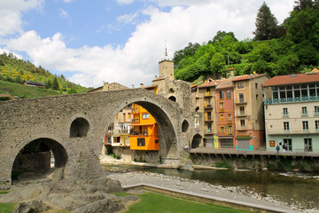 New Bridge in the small town of Camprodon, located in the Pyrenees. Catalonia