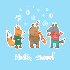 Vector winter card with cute cartoon fox, wolf and  bear.