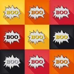 Flat pop art speech bubble - BOO, set colored design elements. Vector eps 8