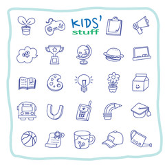 Vector collection of linear icons and illustrations of kid stuff.