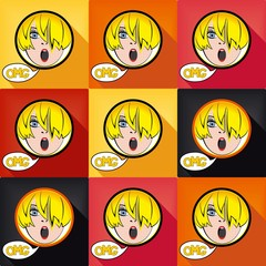 Flat pop art exclaim girl with speech bubble - OH MY GOD, set colored design elements. Vector eps 8
