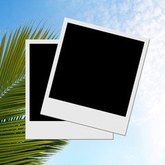 Photo frame on caribbean beach background