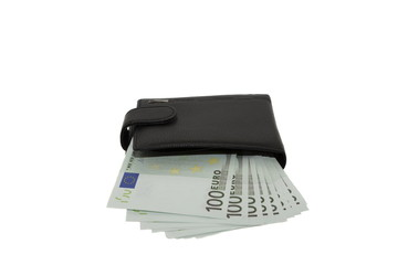 black wallet with euros