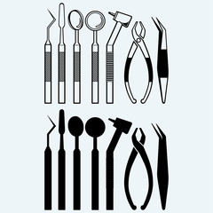 Set of medical equipment tools for teeth dental care. Isolated on blue background