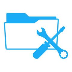 Icono aislado expediente simbolo herramientas azul