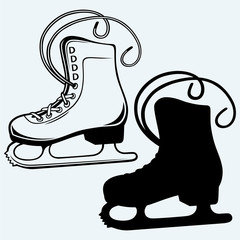 White skates. Isolated on blue background