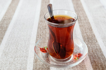 Turkish tea in a glass on the table
