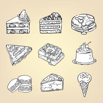 Doodle cake cheesecake waffle pudding macaron ice cream crepe pancake pie and other international sweet dessert icon set, vector