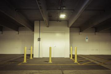 Empty parking garage door