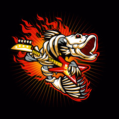 Fish skeleton rock electric guitar flame