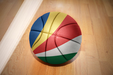 basketball ball with the national flag of seychelles