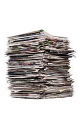 Tall Stack Of Newspapers/ Tall Stack of Old Newspapers on white background