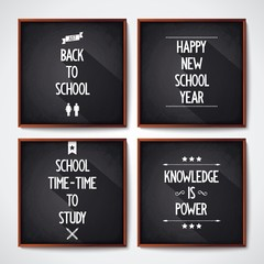 Quote poster with text on four black school chalkboard. Vector eps 10