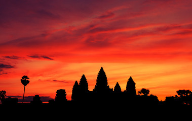 Silhouette Angkor Wat in Cambodia with sunrise sky background.