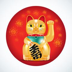 Maneki neko, golden cat. Japanese golden little sculpture. Lucky cat on red circle with fireworks. Vector illustration.