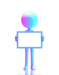 3d figure holding blank board