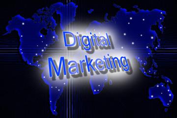 Digital Marketing Konzept mit Weltkarte