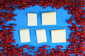 Frame made of red currant and cherry with stick notes