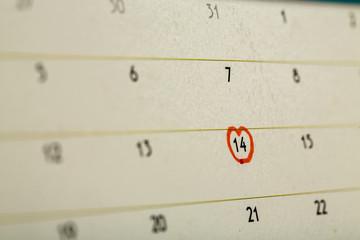 Mark on valentine day on calendar.