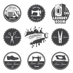 set of vintage workshop emblems