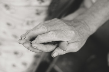 Senior couple hands, Close up image