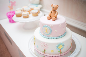 Pink First Year Birthday Cake