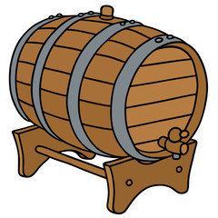 Wooden barrel / Hand drawing, vector illustration