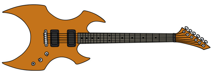 Orange electric guitar / Hand drawing, vector illustration