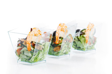 set of seafood canapes on white background studio isolated