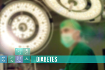 Diabetes medical concept image with icons and doctors on background