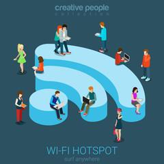 Public free Wi-Fi hotspot isometric concept